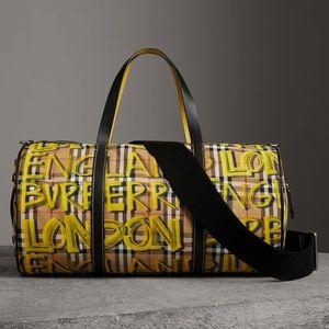 BURBERRY Medium Graffiti Vintage Check Duffel Bag
